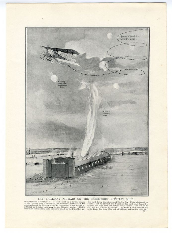 1914 WW1 PRINT Air Raid on Dusseldorf Zeppelin Shed DRAWING by G. H. Davis